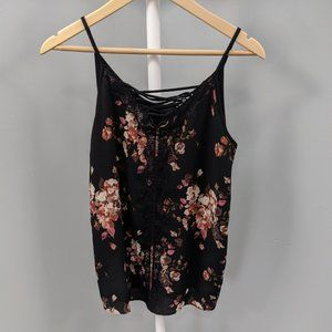Maurices Black Floral Lace Strappy Front Tank, S